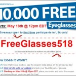 10,000 Free Glasses today Again! CoastalContacts.com! Hurry!