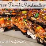 Fun and Easy Halloween Peanut Marshmallow Bark Recipe.