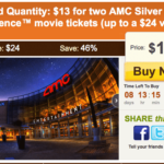 HOT DEAL! ON AMC MOVIE TIX $13 FOR TWO TIX TO THE MOVIES!