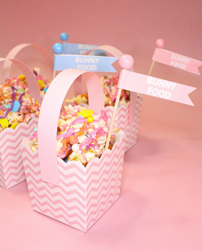 DIY-Mini-Easter Basket-Popcorn-Bunny-Food