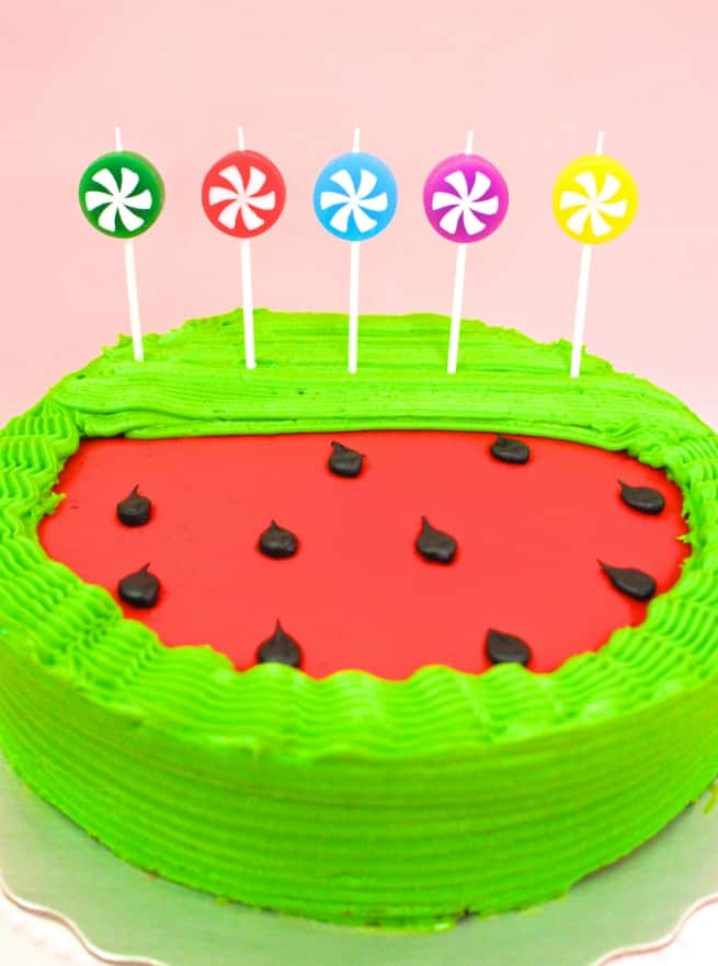 Fabulous Diy Watermelon Birthday Cake Fun Candles Brite And Bubbly Funny Birthday Cards Online Inifofree Goldxyz