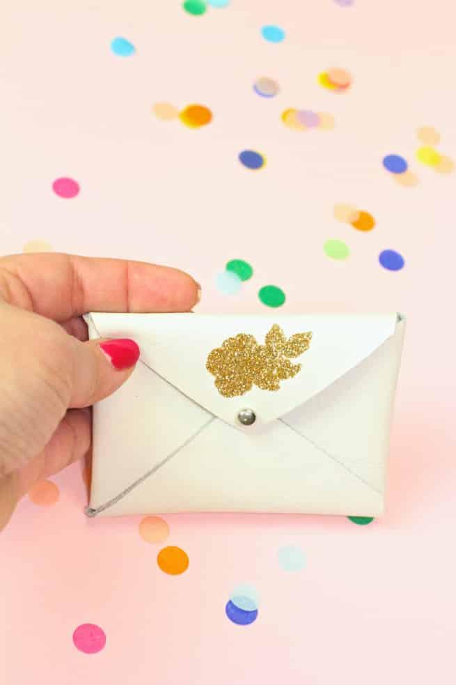 DIY Gold Glitter- Flower-Business Card Holder
