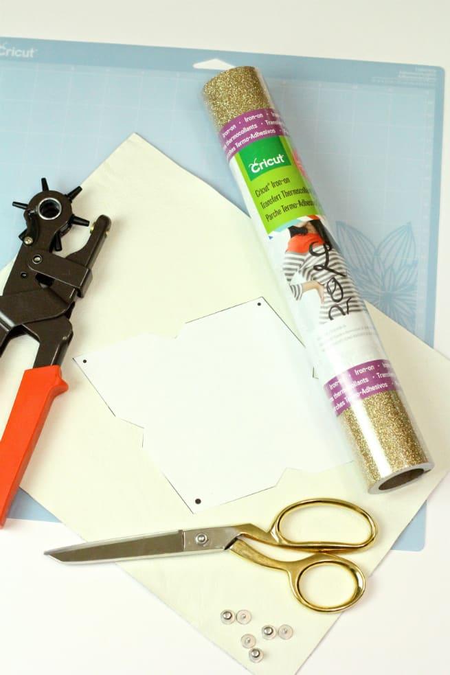 DIY Gold Glitter Monogram Business Card Holder-Supplies
