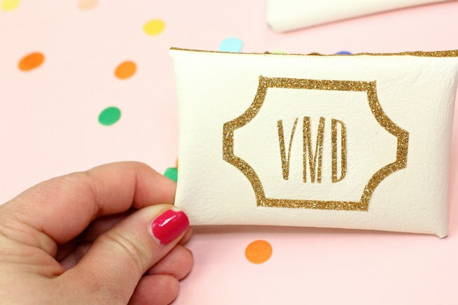 DIY-Gold Glitter Monogram Business Card Holder