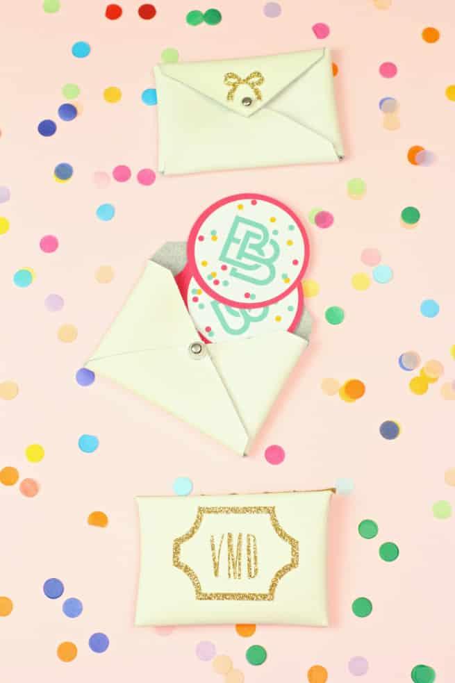 DIY-Gold-Glitter-Monogram Business Card Holder