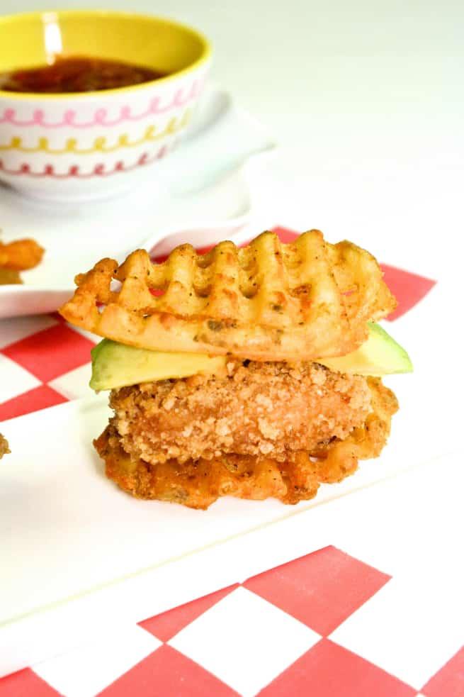 Easy To Make Waffle Fry Chicken Bites Sweet Potato Fries Dip