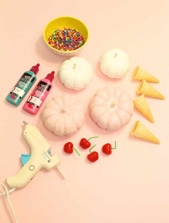 DIY Spilled Ice Cream Cone Pumpkins Supplies