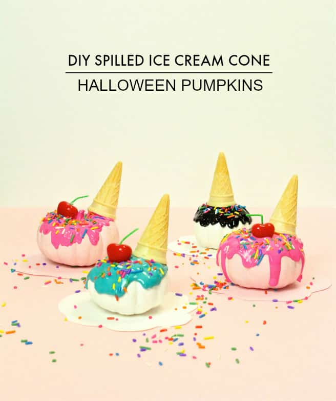 DIY Spilled Ice Cream Cone Pumpkins