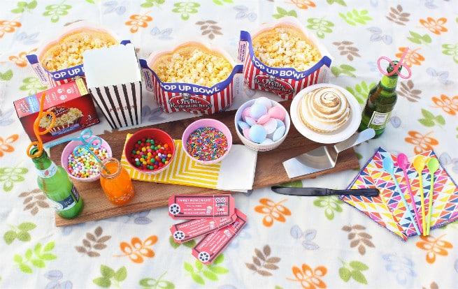 DIY Movie Party Popcorn Sprinkle Bar