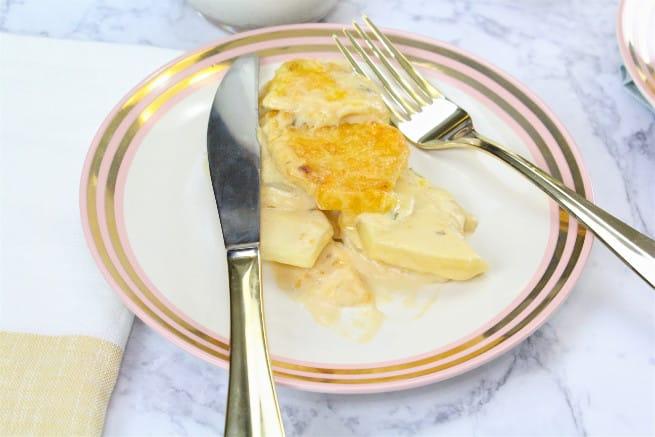 Easy cheesy savory potato casserole recipe and milk