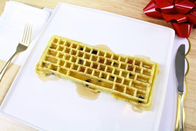 The keyboard waffle iron chocolate chipe waffle