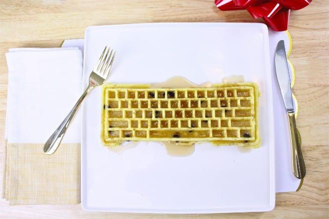 keyboard waffle iron chocolate chipe waffle