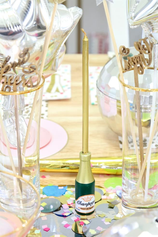 Champagne Bottle Candle Holder