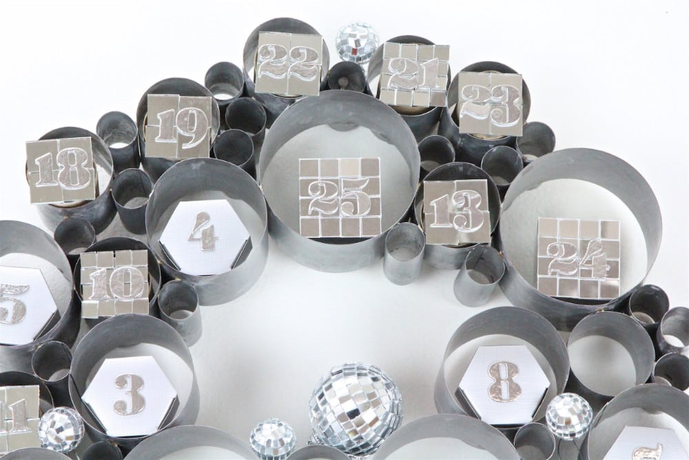 DIY-Disco Themed Galvanized Bubble Wreath Advent Calendar-2