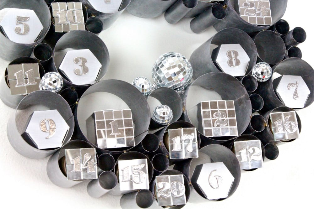 DIY-Disco Themed Galvanized Bubble Wreath Advent Calendar-3