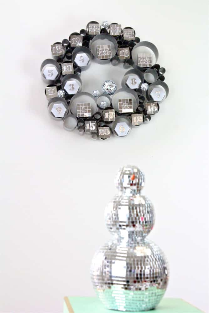 DIY-Disco Themed Galvanized Bubble Wreath Advent Calendar-4