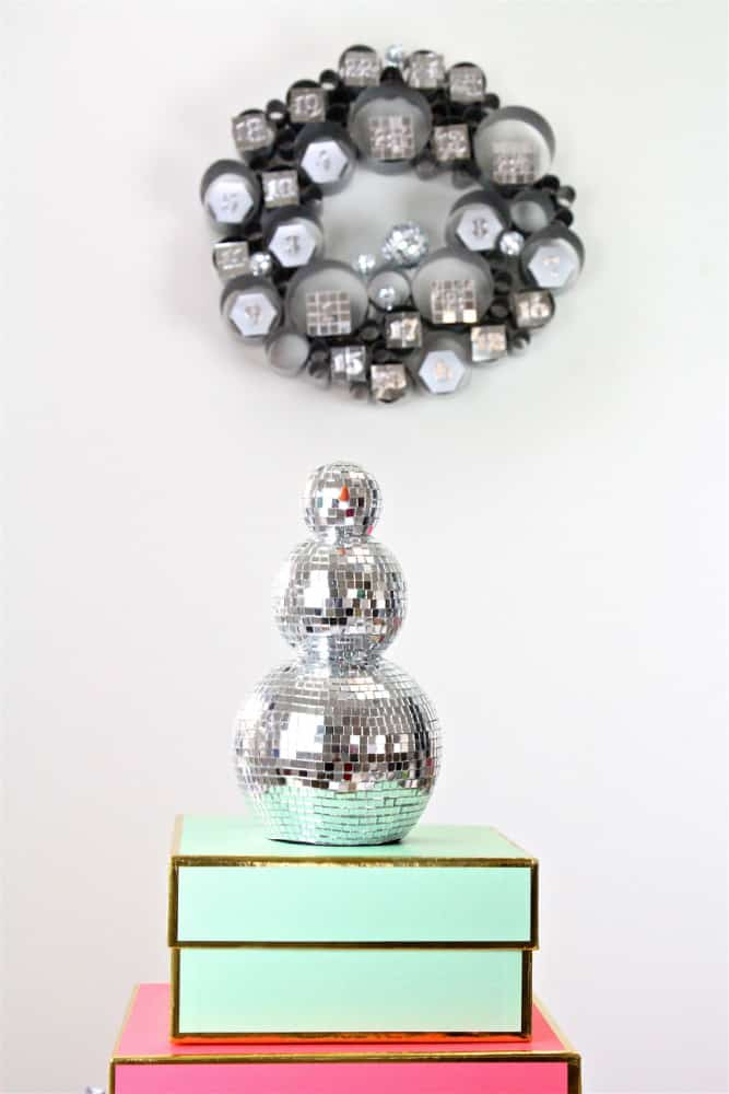 DIY Disco Themed Galvanized Bubble Wreath Advent Calendar Disco Snowman