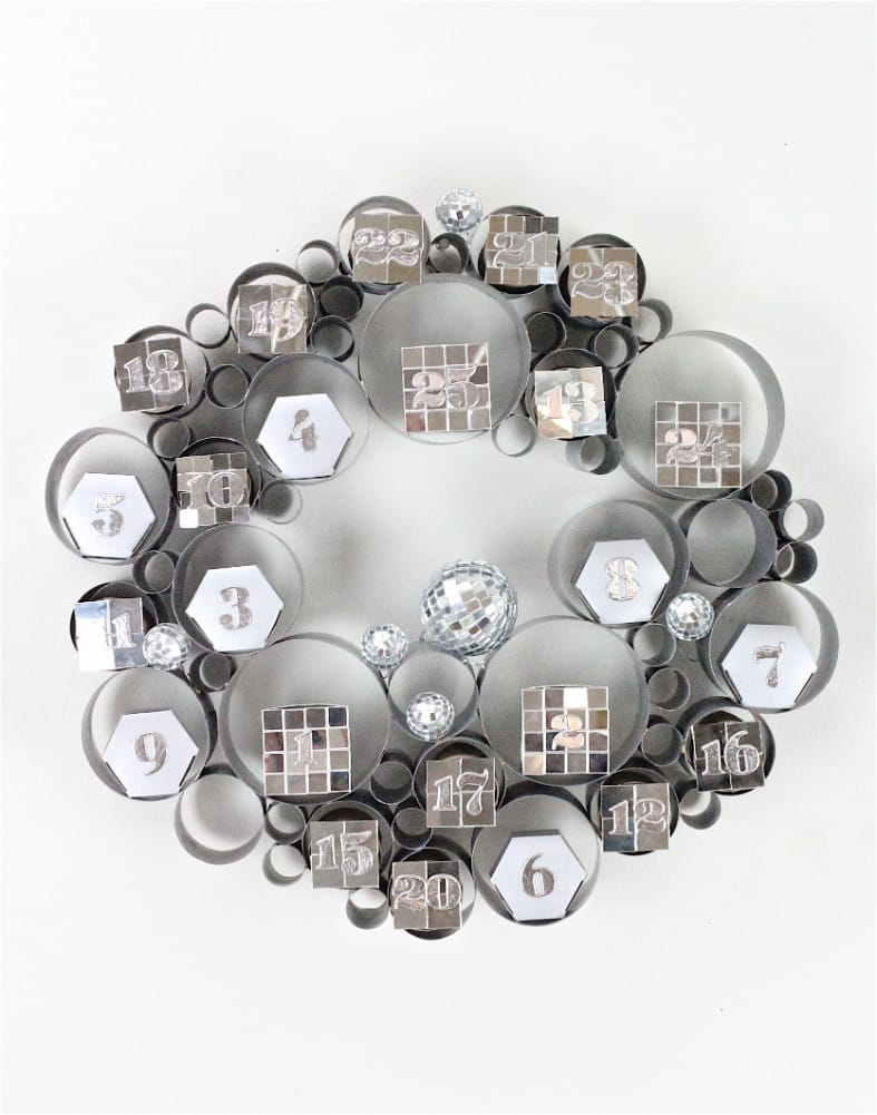 DIY Disco Themed Galvanized Bubble Wreath Advent Calendar