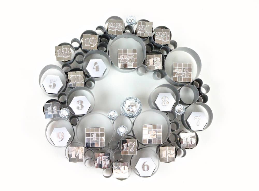 DIY-Disco Themed Galvanized Bubble Wreath Advent Calendar