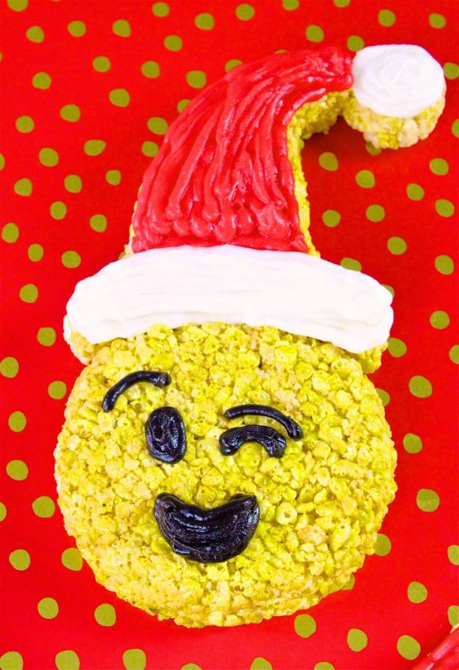 DIY Holiday Smilely Emoji Rice Krispies Treats-Wink