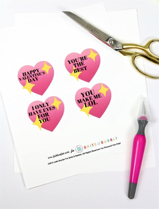DIY Emoji Lollipop Heart Valentine Printable
