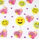 DIY Emoji Sparkle Heart Lollipop Valentines + Free Printable!