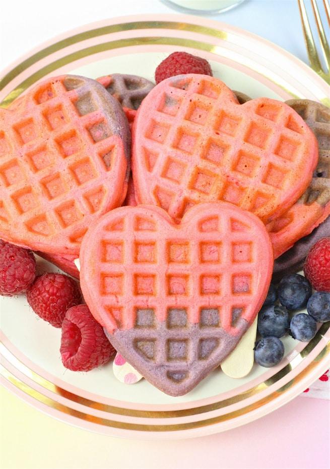 DIY Healthy Color Block Heart Waffles Recipe