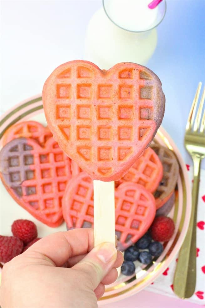 Healthy Color Block Heart Waffle Pop Recipe