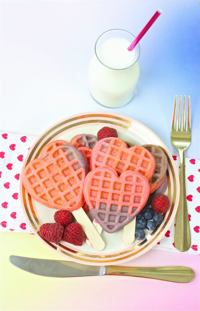 Healthy Color Block Heart Waffles Recipe
