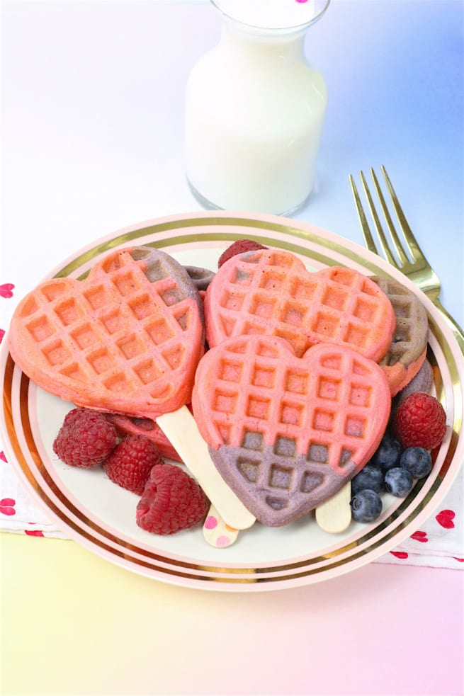 Healthy Color Block Heart Waffles & Waffle Pops Recipe