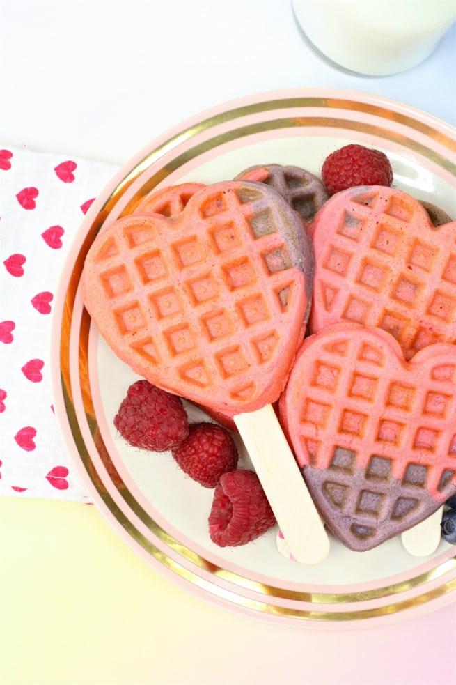 Healthy DIY Color Block Heart Waffle Pop Recipe
