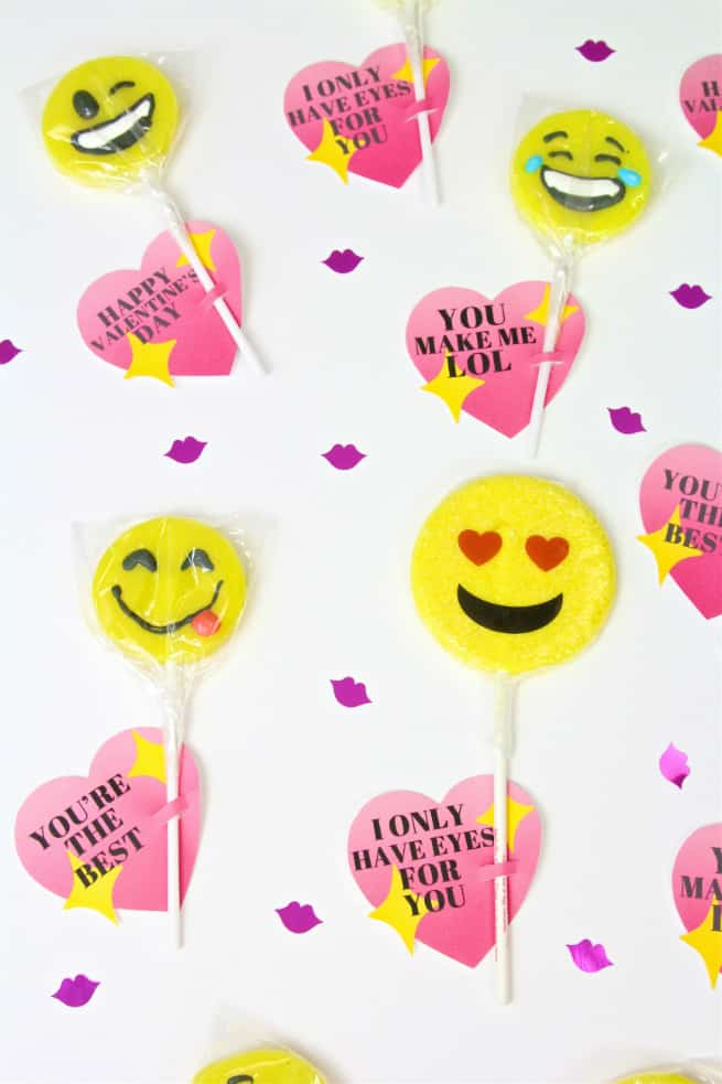 Printable DIY Emoji Lollipop Heart Valentines