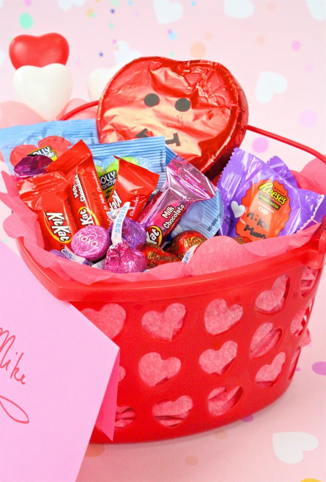 Easy Diy Valentine S Day Candy Basket Free Printable Brite And Bubbly