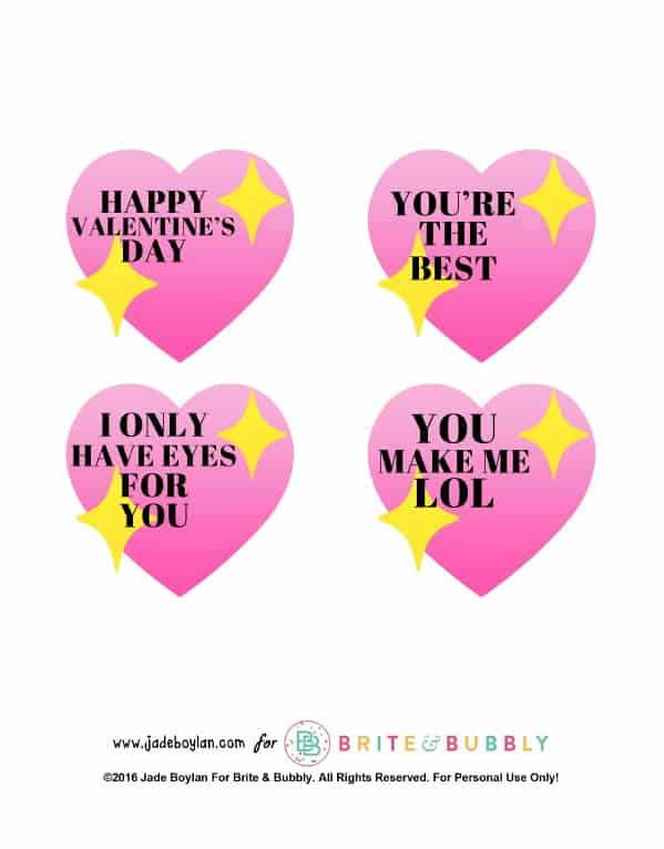 DIY Emoji Sparkle Heart Lollipop Valentines + Free Printable ...