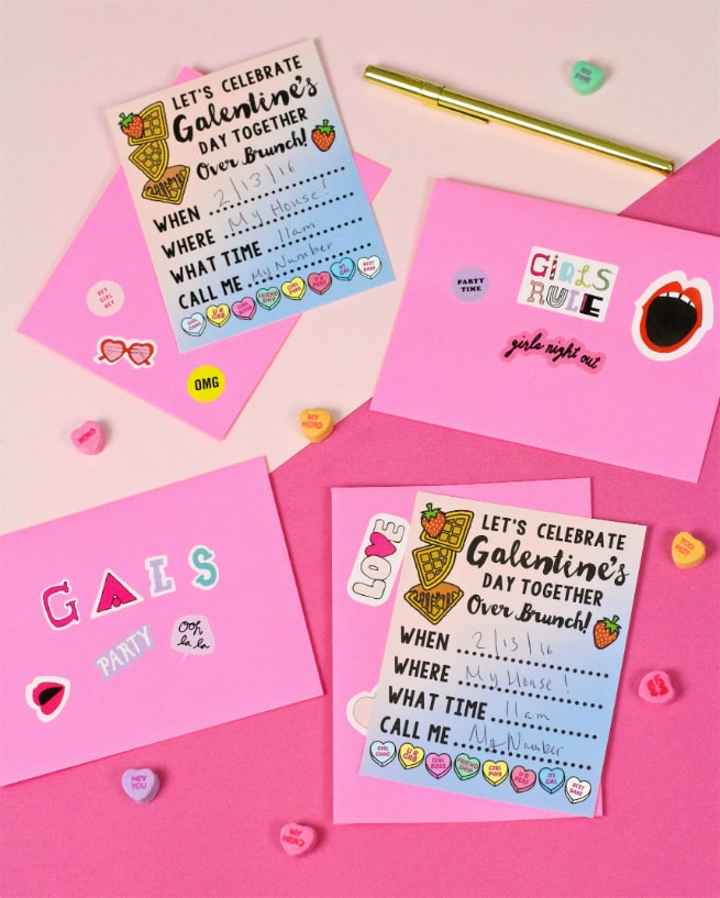 Cute DIY Free Printable Galentine's Day Brunch Invitations