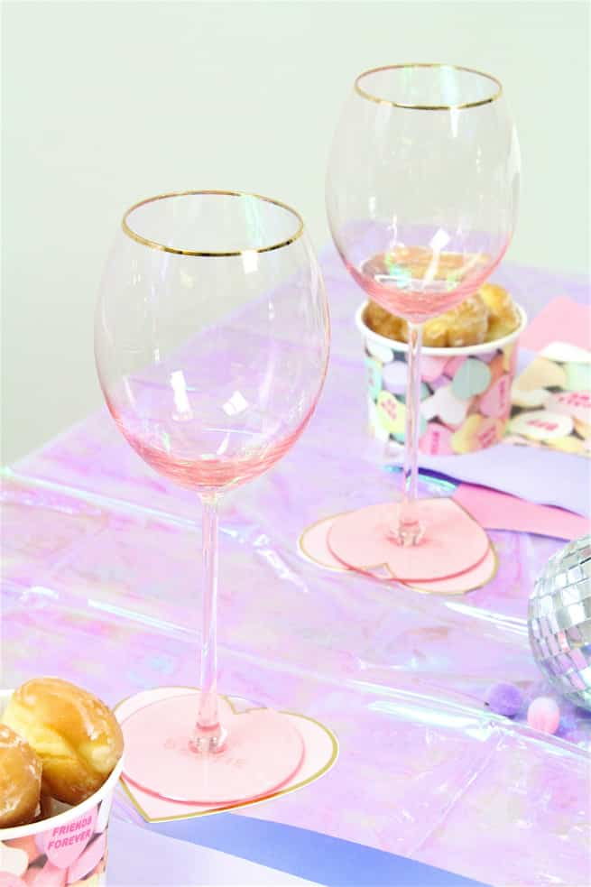 DIY Galentine's Day Brunch Pink Glasses
