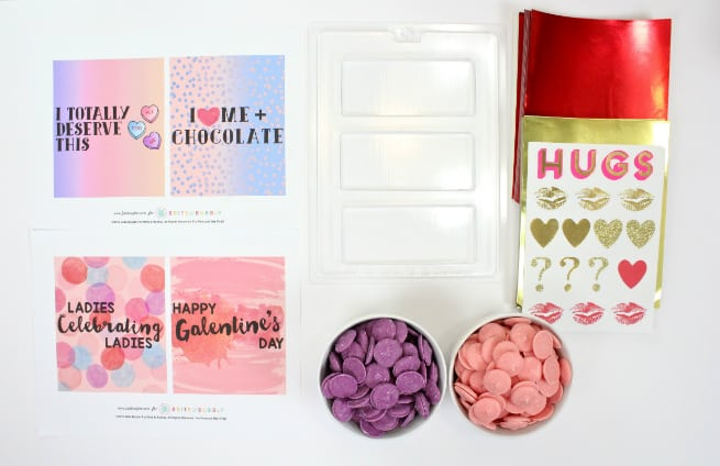 DIY Galentine's Day Color Block Chocolate Bars Supplies 2
