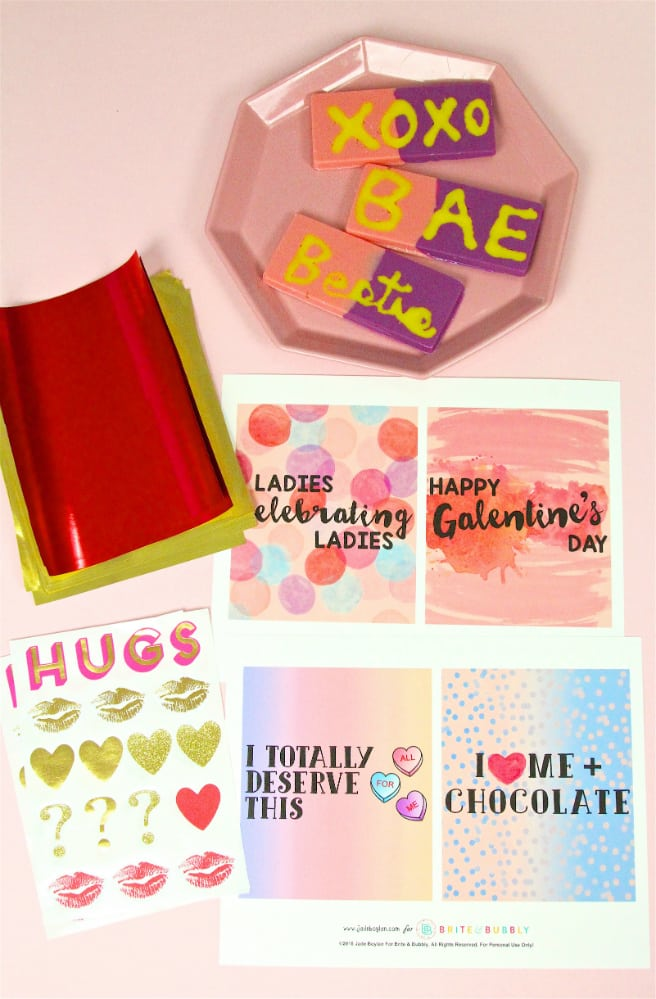 DIY Galentine's Day Color Block Chocolate Bars Supplies