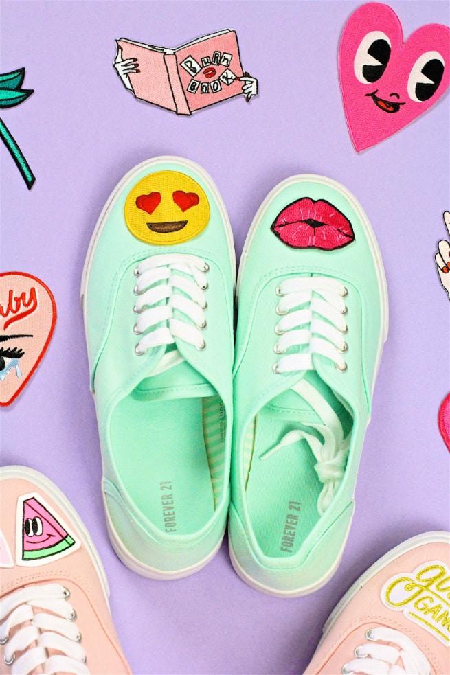 DIY Patch Sneakers Emoji Kiss