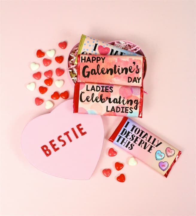 Easy DIY Galentine's Day Color Block Chocolate Bars