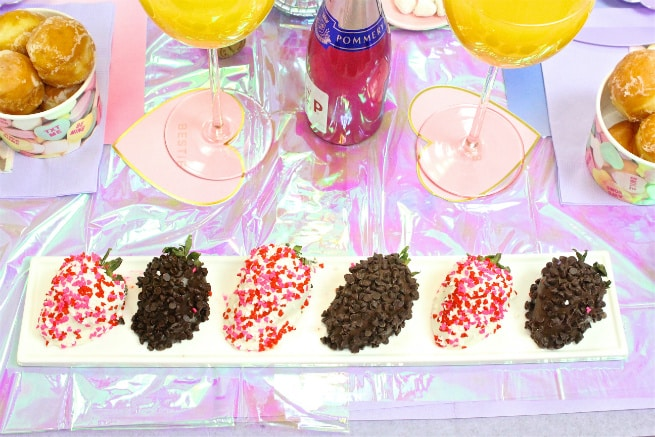Galentine's Day Brunch Chocolate Covered Strawberries
