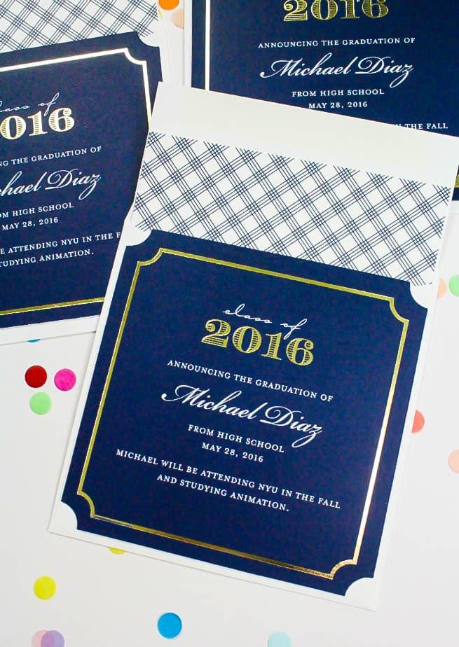 Tiny Prints Graduation Invites Evelope Back