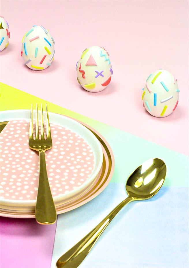 DIY Pastel Geo & Squiggle Retro Ceramic Easter Eggs
