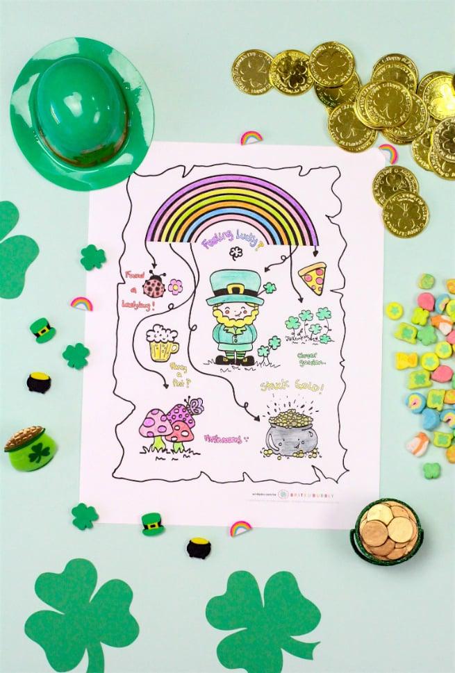 DIY Saint Patricks Day Coloring Printable Map
