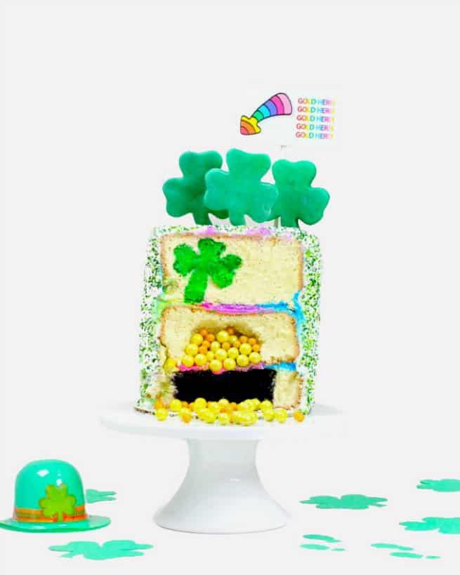 DIY Saint Patrick's Day Surprise Cake Sliced