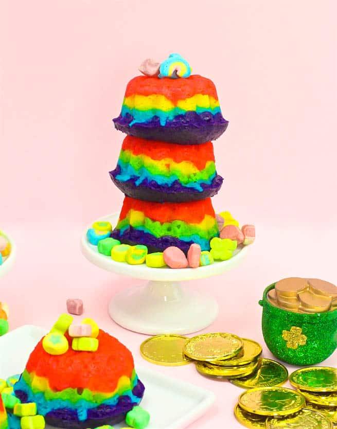 Easy DIY Mini Rainbow Bundt Cakes