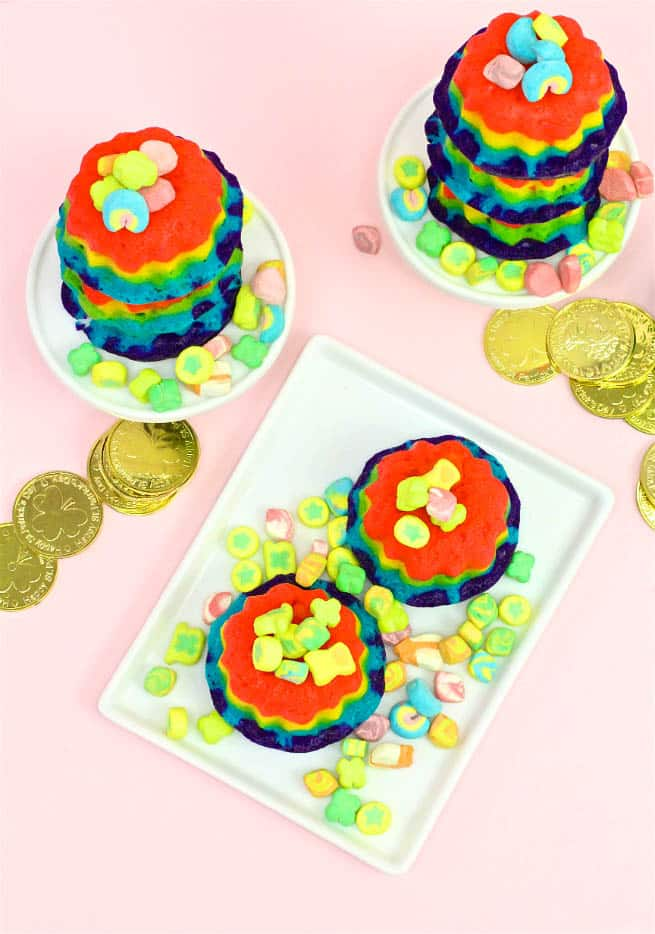 Easy Mini Rainbow Bundt Cakes