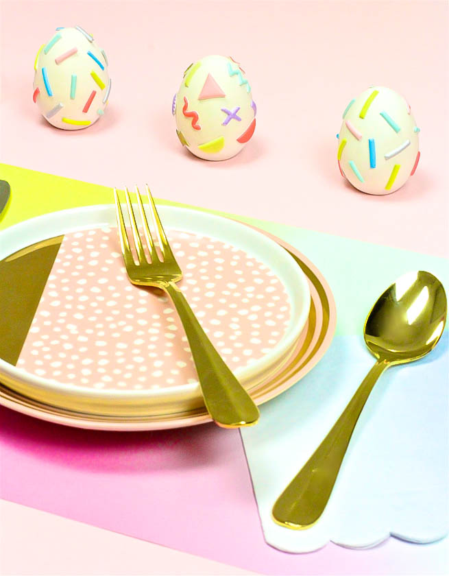 Easy Pastel Geo & Squiggle Retro Ceramic Easter Eggs
