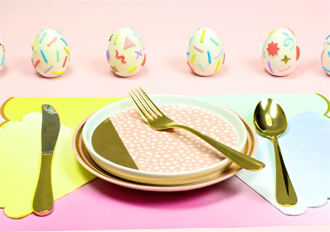 Pastel Geo & Squiggle Retro Ceramic Easter Brunch