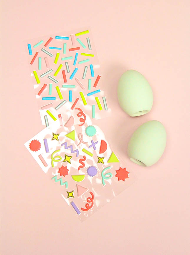 Pastel Geo & Squiggle Retro Ceramic Easter Eggs Supplies